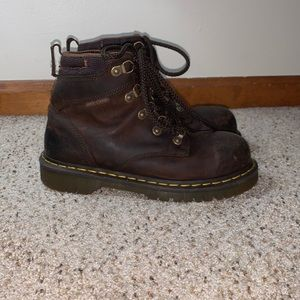 Dr. Martens Brown Leather Steel Toe Boots- Size 6